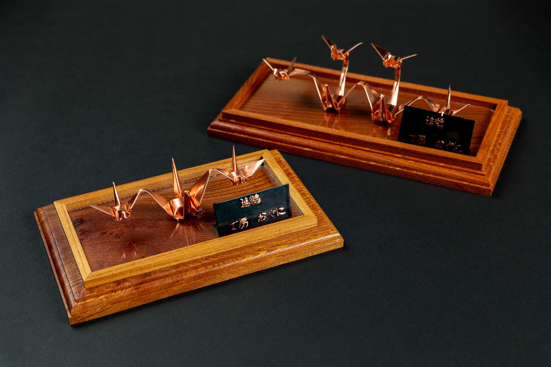渡部鈑金の銅板折り鶴